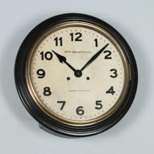 "Antique 15½"" Mahogany Railway Station / School Round Wall Clock by West End Watch Co. (Chiming) - yolagray.com"
