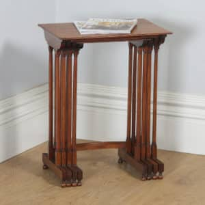Antique English Regency Style Edwardian Set of Four 4 Quartetto Mahogany Nest of Tables (Circa 1910) - yolagray.com