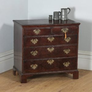 Small Antique English Georgian Oak Bachelors Chest of Drawers (Circa 1780) - yolagray.com