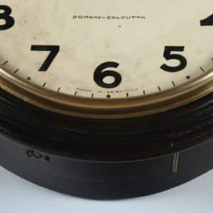 """Antique 15½"""" Mahogany Railway Station / School Round Wall Clock by West End Watch Co. (Chiming) - yolagray.com"""