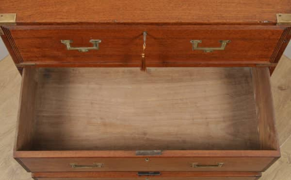Small Antique English Victorian Teak & Brass Military Campaign Chest of Drawers (Circa 1830) - yolagray.com