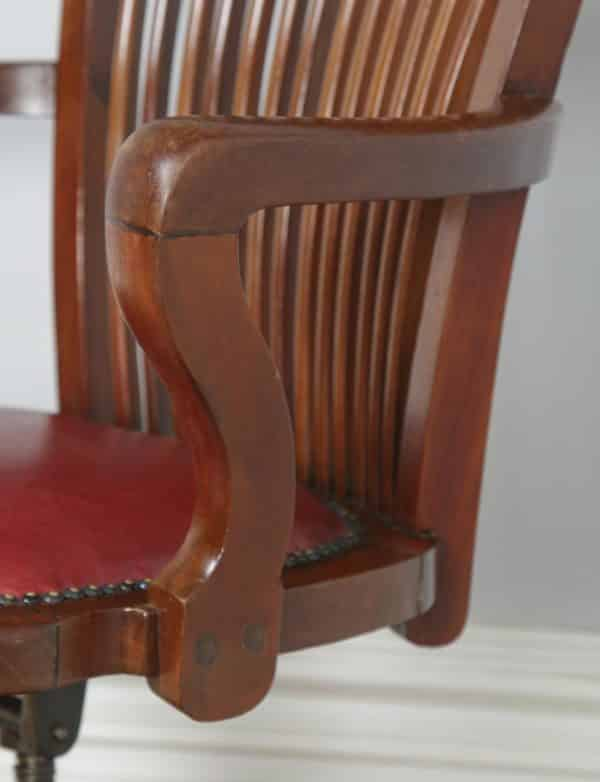 Antique English Edwardian Mahogany & Red Leather Revolving Office Desk Arm Chair by J. W. Cooke & Co. (Circa 1910) - yolagray.com