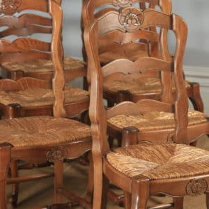 Antique Set of 10 Ten French Louis XV Style Oak Ladder Back Kitchen Dining Chairs (Circa 1910) - yolagray.com