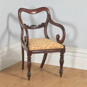 Antique English Victorian Mahogany Library Desk Office Dining Armchair Carver (Circa 1840) - yolagray.com