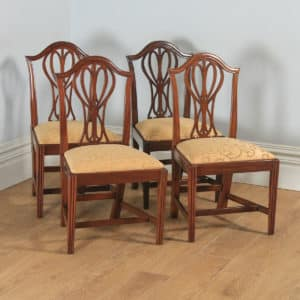 Antique English Set of Four Georgian Hepplewhite Mahogany Dining Chairs (Circa 1780) - yolagray.com