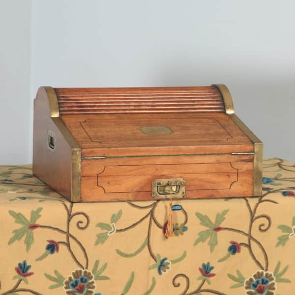 Antique Victorian Colonial Camphor Wood & Brass Rolltop Metamorphic Lap Box Writing Desk (Circa 1850) - yolagray.com