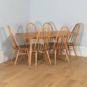Vintage Set of Elm Blonde Ercol Quaker Dining Table & Six 6 Stick / Hoop Back Kitchen Dining Chairs (Circa 1960) - yolagray.com