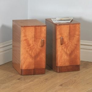 Antique English Pair of Art Deco Figured Mahogany Bedside Cupboards / Cabinets / Nightstands (Circa 1930) - yolagray.com