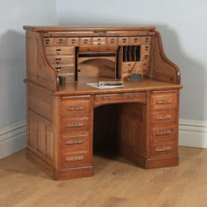 "Antique American Edwardian 4ft 2"" Oak Roll Top Pedestal Office Writing Desk by Horrocks Standard Company (Circa 1910) - yolagray.com"