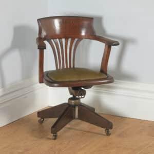 Antique English George V Oak & Green Leather Revolving Office Desk Arm Chair (Circa 1920) - yolagray.com