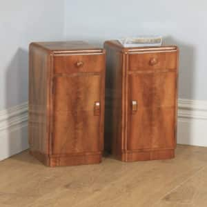 Antique English Pair of Art Deco Figured Walnut Bedside Chests Cupboards Tables Nightstands (Circa 1930) - yolagray.com
