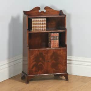 Antique English Georgian Regency Style Small Flame Mahogany Inlaid Waterfall Open Bookcase (Circa 1960) - yolagray.com