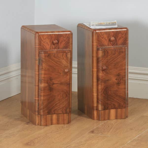 Antique English Pair of Art Deco Burr Walnut Serpentine Bedside Chests Cupboards Tables Nightstands (Circa 1930) - yolagray.com