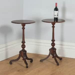 Antique English Victorian Pair of English Burr Walnut & Birds Eye Maple Occasional Circular Tripod Wine Tables (Circa 1860) - yolagray.com