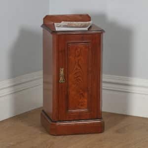 Antique English Victorian Pitch Pine Bedside Chest Pot Cupboard Night Stand Cabinet (Circa 1890) - yolagray.com