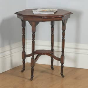 Antique English Edwardian Mahogany Octagonal Occasional Side Lamp Hall Table (Circa 1910) - yolagray.com