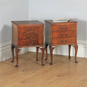 Antique English Pair of Queen Anne Style Flame Mahogany Bedside Chests Tables Nightstands (Circa 1960) - yolagray.com