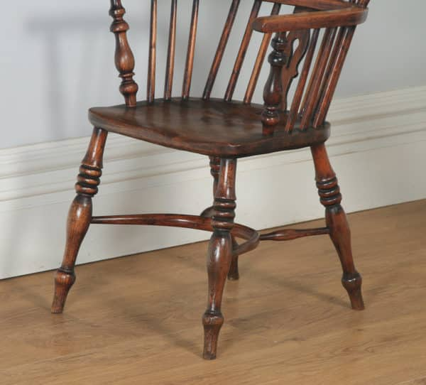 Antique English Set of 10 Ten Victorian Ash, Beech & Elm Windsor Stick & Hoop Back Kitchen Dining Chairs (Circa 1840) - yolagray.com
