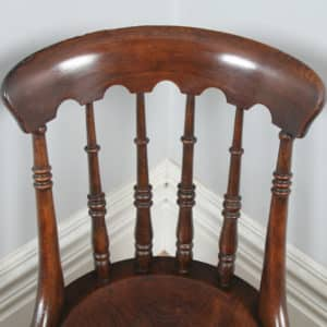 Antique English Set of 8 Eight Victorian Ash & Elm Windsor Spindle Bar Back Kitchen Dining Chairs (Circa 1880) - yolagray.com