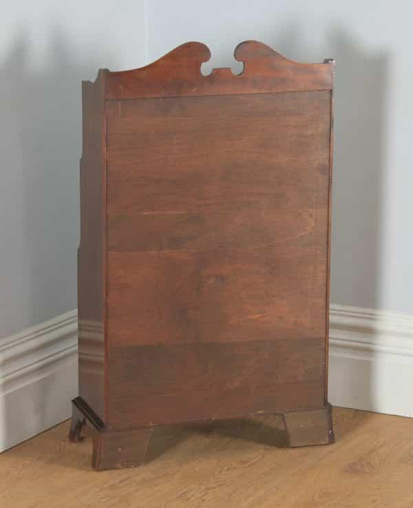 Antique English Georgian Regency Style Small Flame Mahogany Inlaid Waterfall Open Bookcase (Circa 1960) - yolagray.com