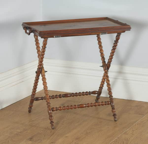 Antique Italian Victorian Sorrento Ware Olive Inlaid Wood Butlers Drinks Tray Table & Stand (Circa 1880) - yolagray.com