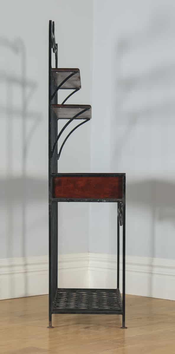 Vintage Indian Teak & Metal Hall Stand Two Drawer Sideboard Rack (Circa 1970) - yolagray.com