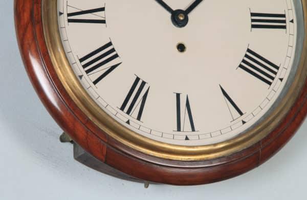 "Antique 15"" Mahogany Smiths Enfield Railway Station / School Round Dial Wall Clock (Timepiece) - yolagray.com"