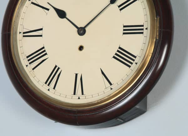 "Antique 15"" Mahogany Railway Station / School Round Dial Wall Clock (Timepiece) - yolagray.com"