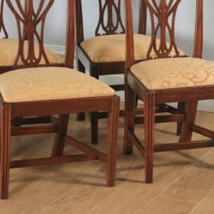 Antique English Set of Four Georgian Hepplewhite Mahogany Dining Chairs (Circa 1780) - yolagray.com