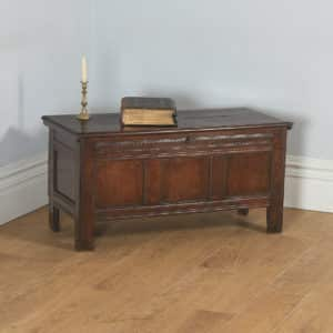 Antique English 18th Century Oak Joined & Panelled Coffer Chest Blanket Box (Circa 1730) - yolagray.com