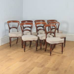 Antique Victorian Set of Eight Mahogany Balloon Back Dining Chairs (Circa 1860) - yolagray.com