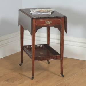 Antique English Edwardian Mahogany Folding Drop Leaf Occasional Side Table (Circa 1910) - yolagray.com
