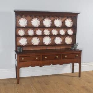 Antique English 19th Century Georgian Oak Shropshire Joined Low Dresser Base & Rack Sideboard (Circa 1800) - yolagray.com