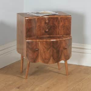 Antique English Art Deco Burr Walnut Bow Front Bedside Chest of Drawers (Circa 1930) - yolagray.com