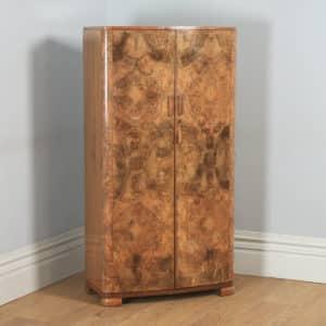 Small Antique English Art Deco Burr Walnut Two Door Wardrobe (Circa 1930) - yolagray.com