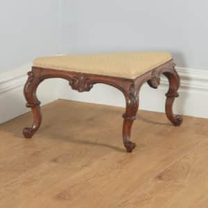 Antique English Victorian Mahogany Triangular Upholstered Corner / Foot Stool (Circa 1870) - yolagray.com