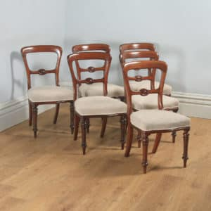 Antique English 19th Century Victorian Set of Six Walnut Balloon Back Dining Chairs (Circa 1880) - yolagray.com
