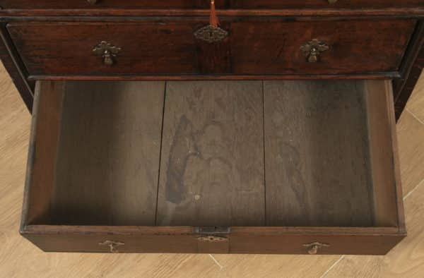 Antique English 18th Century Georgian Oak Panelled Two Part Chest of Drawers (Circa 1740) - yolagray.com