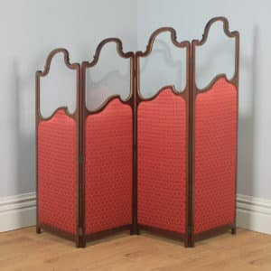 Antique English Edwardian Mahogany Upholstered Four-Fold Panel Dressing Screen Divider (Circa 1910) - yolagray.com