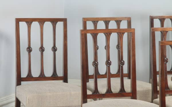 Antique English Set of Six Georgian Hepplewhite & Gothic Style Mahogany Dining Chairs (Circa 1900) - yolagray.com