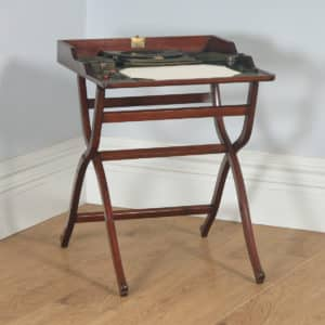 Antique English Victorian Mahogany Folding Campaign Writing Compendium Desk Table (Circa 1890) - yolagray.com