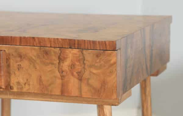 Antique English Art Deco Burr Walnut Bowed Bedside / Occasional Side Table (Circa 1930) - yolagray.com