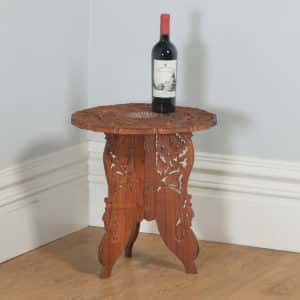 Anglo Indian Leaf Carved & Bone Inlaid Teak Occasional Side Table (Circa 1980) - yolagray.com