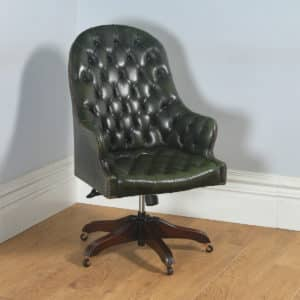 Georgian Style Mahogany Green Leather Revolving Office Desk Bucket Armchair (Circa 1980) - yolagray.com