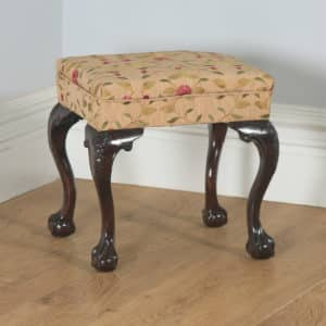 Antique English Georgian Chippendale Style Mahogany Upholstered Stool (Circa 1880) - yolagray.com