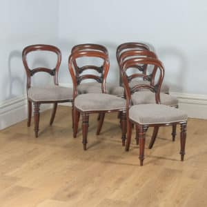 Antique English 19th Century Victorian Set of Six Mahogany Balloon Back Dining Chairs (Circa 1860) - yolagray.com