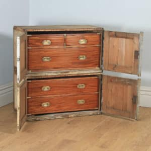 Antique English Victorian Colonial Mahogany & Brass Military Campaign Chest of Drawers with Original Transportation Case (Circa 1850) - yolagray.com