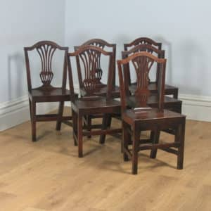 Antique English Set of Six Georgian Hepplewhite Solid Oak Country Dining Chairs (Circa 1800) - yolagray.com