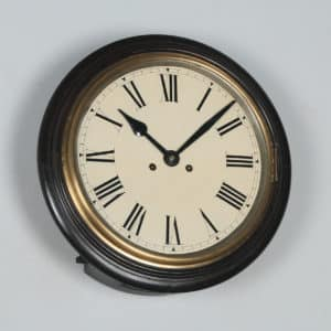 "Antique 16"" Mahogany Railway Station / School Round Wall Clock by West End Watch Co. (Chiming) - yolagray.com"