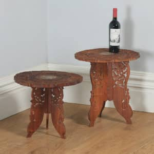 Pair of Anglo Indian Leaf Carved & Bone Inlaid Teak Occasional Side Tables (Circa 1980) - yolagray.com